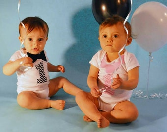 Twins//Siblings// First Birthday//Necklace//Bow Tie//One//Boy// Girl//Fabric Iron On Appliques