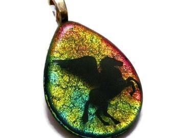 Pegasus Neckace - Pegasus Pendant - Fused Glass Jewelry - Rainbow Dichroic