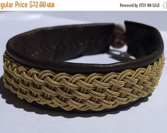 CIJ SALE Brown Sami Bracelet - Leather Wrap Gold Tin Metal Thread Braided Bracelet with Reindeer Leather and Antler Button Clasp
