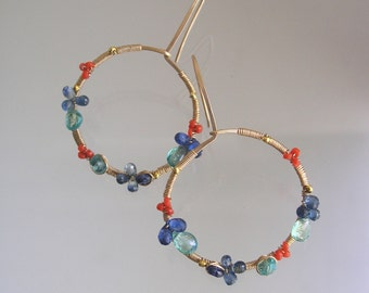 Gemstone Gold Filled Hoops, Apatite Earrings, Kyanite, Vintage Coral, Blue Sapphire, Wire Wrapped, Everyday, Original Design, Signature