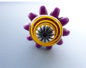 Riveted Stainless Steel Ring With Yellow Lampwork and Purple Accent Size 7