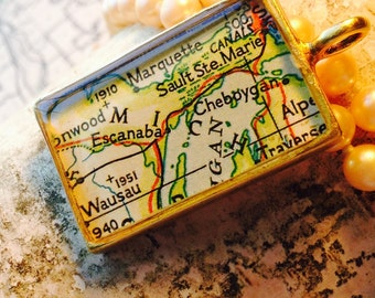 England Map Pendant in Coppper Rectangle