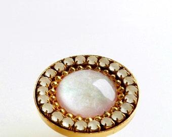 Vintage Swarovski Crystal and Glass Opal Cocktail Ring