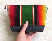 Colorful Serape and Denim Zip Pouch, Eco Friendly, Repurposed Textile Clutch