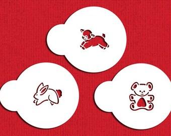 Baby Animals Cookie & Cupcake Stencil - Designer Stencils (C298) Bear, Lamb, Bunny Rabbit