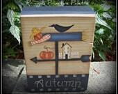Fall Scarecrow Shelf Sitter Wood Block Autumn Primitive Home Decor