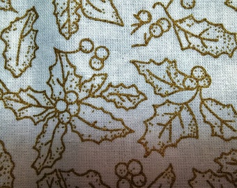 Christmas Holly Gold Leaves - fat quarter