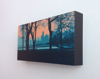 Lakefront II v1--12x6 archival print mounted on precision crafted wood panel
