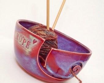 Hope- Purple Blue Spiral Ceramic Wheel Thrown Yarn Bowl - MADE TO ORDER