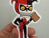 Harley Quinn Calavera Die Cut Vinyl Sticker