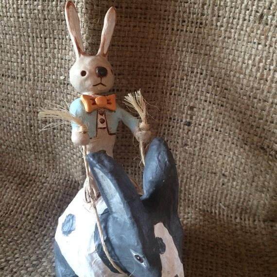 OOAK Love Bunny Boy rabbit rider folk art sculpture Ready to Ship