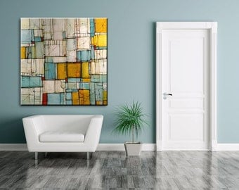 Huge abstract painting extra large Artwork painting contemporary modern abstract painting yellow blue orange