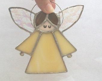Guardian angel shy angel golden stained glass angel suncatcher