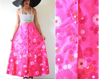 SUMMER SALE/ 30% off Vintage 60s 70s Vibrant Flamingo Pink High Waisted Floral Screen Printed A Line Cotton Maxi Skirt (size small, medium)