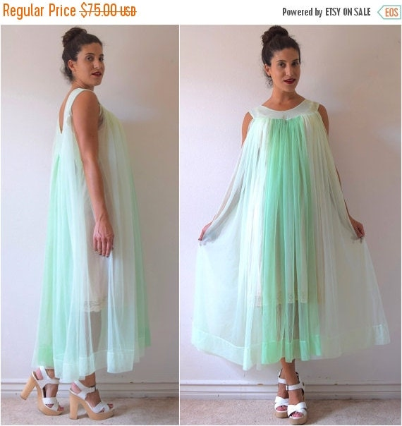 SUMMER SALE / 20% off RESERVED for Lisa Vintage 60s 70s Mint Green Ombre Nylon Tent Dress Negligee