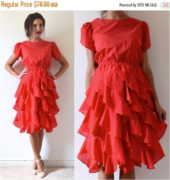 SUMMER SALE / 20% off Vintage 70s 80s Red and White Polka Dot Cotton Voile Ruffled Shirt Waist Dress (size small, medium)