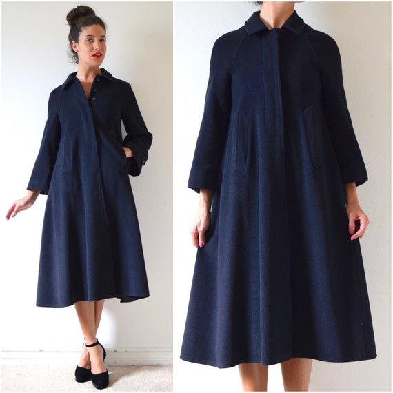 Vintage 70s 80s ANNE MARIE BERETTA for Ramosport Black Cashmere and Wool Swing Coat (size small, medium)