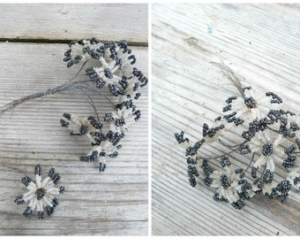 Vintage Antique 1900/1920 French  hematite &  white glass beads /  beaded flower bouquet /10 flowers /French beadwork