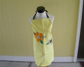 Hand Dyed Floral Vintage Apron Twill Yellow Calico Ladies Women 12206 NEW