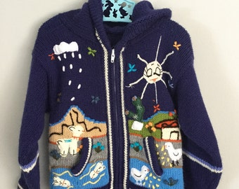 Peruvian Navy Blue Hooded Cardigan Sweater 4t 5t