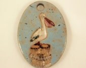 Custom Large Handmade Clay Pottery Pendant Charm or Ornament - Choose Shape and Color - PELICAN