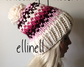 Knit Hat Pattern - Slouchy Hat - Fair Isle - Pom Pom Hat