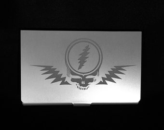 Grateful Dead Etched Business Card Holder Wallet Stainless Steel ID Case Steal Your Face Not Like Other Girls