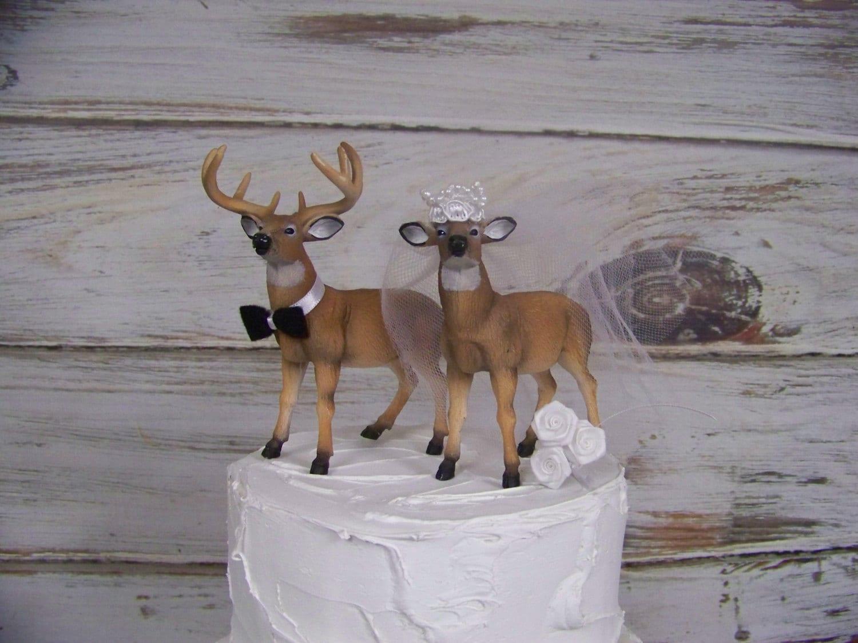 Deer Wedding Cake Topper Animal Cake Topper Buck and Doe