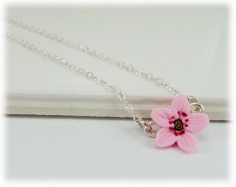 Tiny Cherry Blossom Necklace - Cherry Blossom Jewelry Collection
