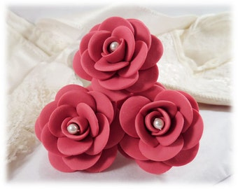 Camellia Hair Pins - Camellia Hair Accessories, Camellia Rose Wedding Hair Pins, Camellia Flower, Japanese Rose