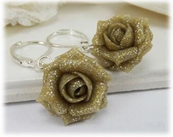 Beige Glitter Rose Dangle Earrings - Beige Glitter Flower Drop Earrings