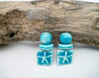 Handmade Ceramic Starfish Headpin Set in Turquoise Blue
