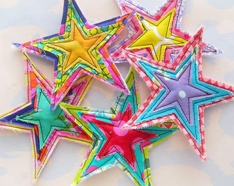 Sewn Fabric Stars Embellishment Set