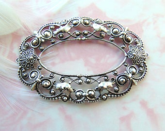 ANTIQUE SILVER * Open Center Oval Floral Filigree Stamping ~ Jewelry Ornament Findings (C-1002)