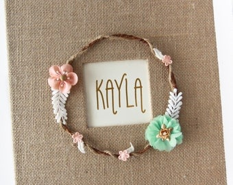 "Burlap Baby Memory Book, ""Bohemian Bliss"", laurel wreath, peach and mint"