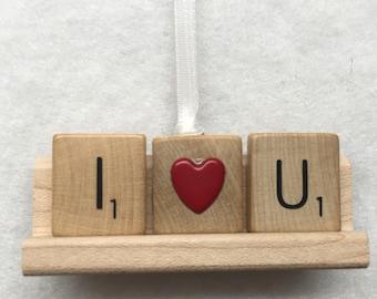 Scrabble Tile Ornament - I Heart U