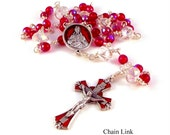 Sacred Heart of Jesus Rosary Chaplet In Siam Red Czech Glass Choice of Construction by Unbreakable Rosaries
