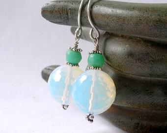 Opalite Earrings Boho Retro Disco Balls Chrysoprase Gemstone Handmade Sterling Silver Findings