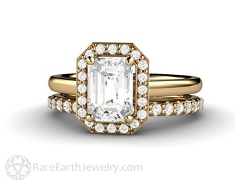 White Sapphire Halo Engagement Ring Bridal Set Emerald Cut Sapphire Halo Plain Band 14K or 18K Gold Wedding Ring