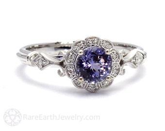 Art Deco Ring Purple Sapphire Ring Vintage Engagement Ring Milgrain Diamond Halo Ring in 14K or 18K Gold Purple Gemstone Ring
