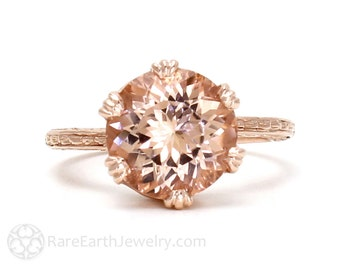 Art Nouveau Morganite Ring Vintage Crown Solitaire Morganite Engagement Ring Filigree 14K White Yellow Rose Gold Bridal Jewelry