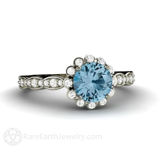 aquamarine wedding rings aquamarine engagement ring aquamarine ring halo aqua 1358