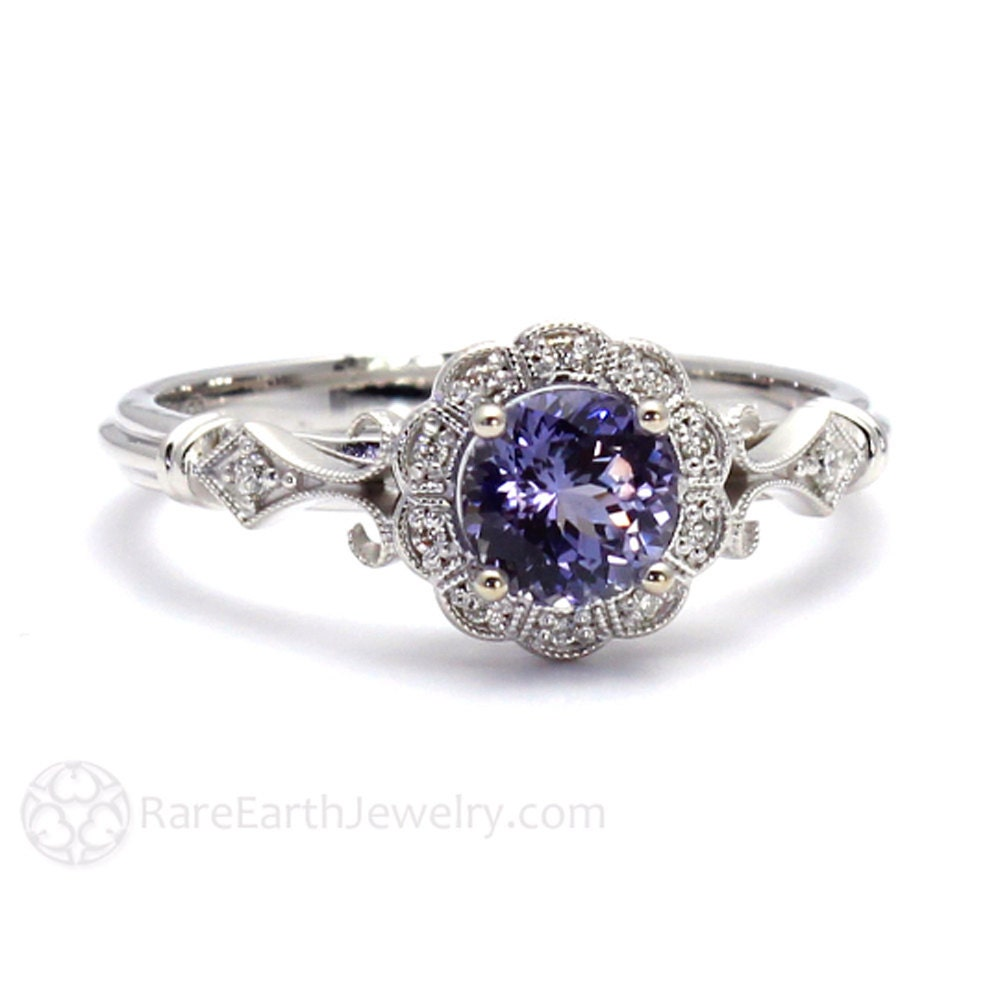 Art Deco Ring Purple Sapphire Ring Vintage Engagement Ring