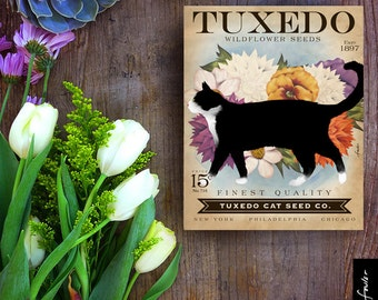 Tuxedo Cat Seed Company cat illustration graphic art on canvas panel by stephen fowler Pick A Size
