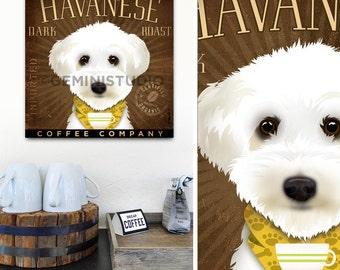 Havanese dog Dark Roast Coffee company original illustration on gallery wrapped canvas by stephen fowler gemini studio