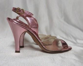 Vintage 50s Hi Heels Shoes Pink Metallic Rhinestones Rockabilly Swing Pinup Peep Toe Sling Back Bombshell 6.5