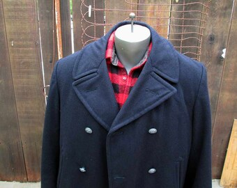 Navy Peacoat Vintage Military Pea Coat eagle buttons 60s Navy Wool Jacket Sailor peacoat 40/42