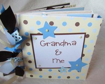 premade PaPeR BaG Scrapbook Mini Album -- GRANDMA and ME {boy} -- granny's brag book - ready to ship
