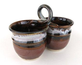 Condiment Dish  / Relish Dish - Black Brown / Off White / Handmade Wheel Thrown Pottery