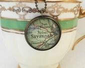 Savannah, Georgia Map Necklace~Custom Vintage Map Pendant~Going Away Gift For a Friend~Keepsake Jewelry~Southern Travel Honeymoon Souvenir